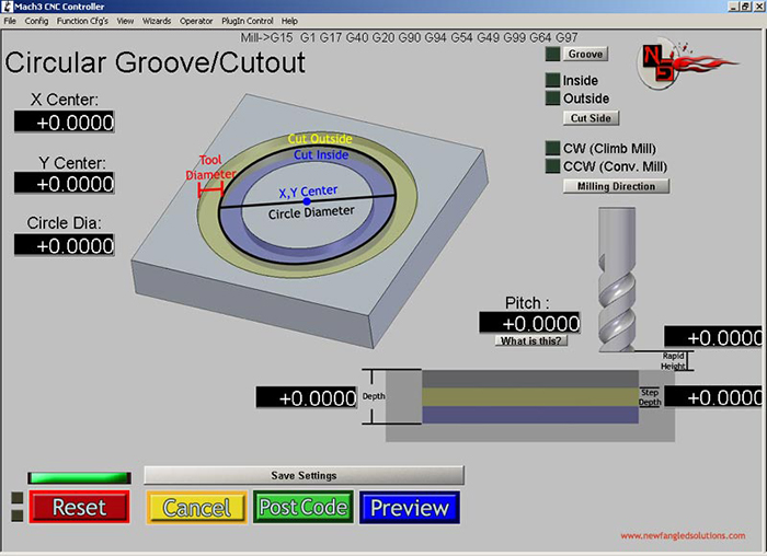 Cut Circle Mach3 Add-ons
