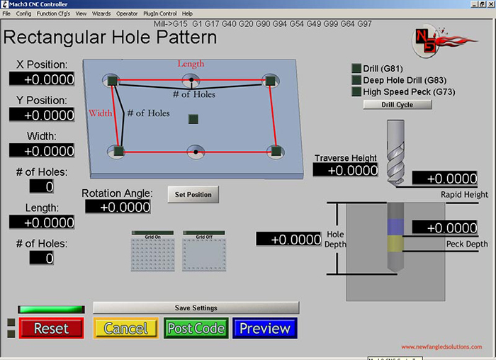 Rectangle Hole Pattern Mach3 Add-ons