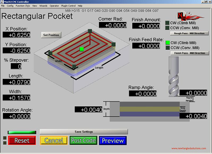 Rectangular Pocket Mach3 Add-ons